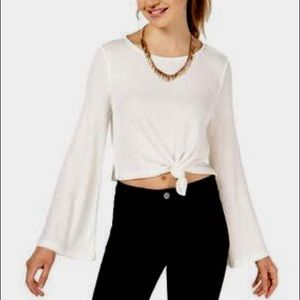 HIPPIE ROSE KNOT FRONT BOHO TOP WITH BELL SLEEVES